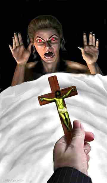 Man ousting an evil spirit