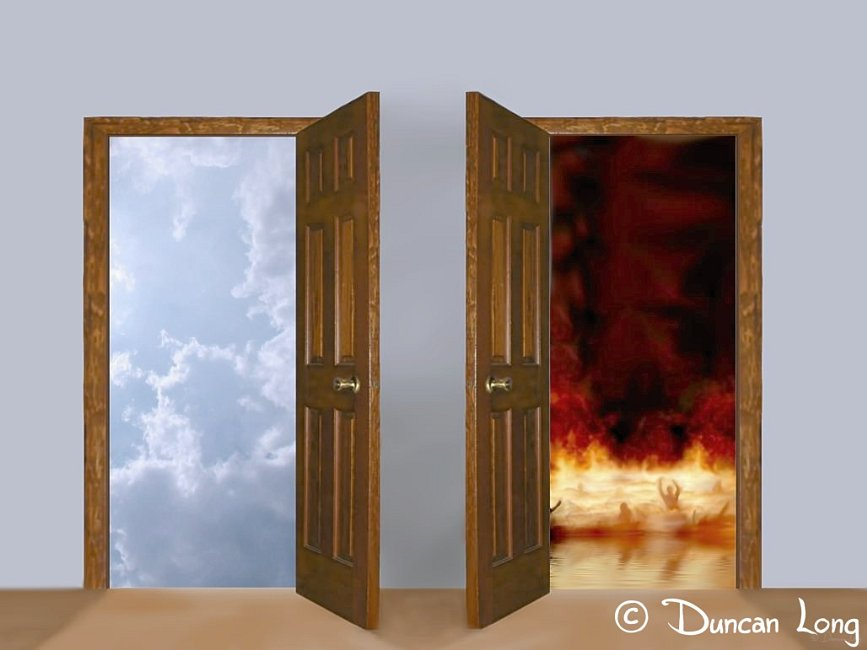 A door opening to Heaven and another opening to hell.